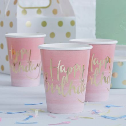 Pink & Gold paper cups 'Happy Birthday' - pack of 8